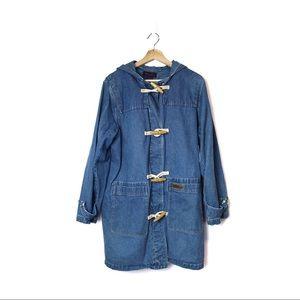 90s Y2K Blue Denim Duffle Coat w/ Southwest Liner